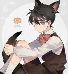 1boy animal_ears bangs blue_eyes blush bow bowtie brown_hair brown_shirt brown_vest child circle closed_mouth collared_shirt commentary_request edogawa_conan english_text feet_out_of_frame fox_ears fox_tail from_side ghost glasses grey_background hair_between_eyes halloween hands_clasped happy_halloween jack-o'-lantern kanamura_ren kemonomimi_mode knees_up leg_hug long_sleeves looking_at_viewer male_focus meitantei_conan own_hands_together red_neckwear shirt short_hair sitting socks solo striped striped_bow striped_neckwear tail two-tone_background vest white_background white_legwear white_shirt