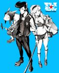 1boy black_hair boobies_uniform breasts cleavage dandy_(space_dandy) honey_(space_dandy) jewelry looking_at_viewer meow_(space_dandy) monochrome navel necklace pickaxe pompadour qt_(space_dandy) scar short_shorts shorts smile space_dandy usisan
