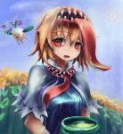 1girl @_@ alice_margatroid bangs blonde_hair blue_dress blue_sky body_horror capelet commentary_request cookie_(touhou) cup daikon dress extra_mouth eyebrows_visible_through_hair eyes_visible_through_hair flower frilled_capelet frills green_tea hair_between_eyes hairband hinase_(cookie) looking_at_viewer mushi_kui open_mouth oversized_object purple_flower red_eyes red_neckwear reu_daikon saliva short_hair sky solo_focus sun tea teeth tongue tongue_out touhou upper_body white_capelet yellow_flower yunomi