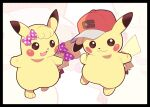 :3 artsy-rc baseball_cap black_border border bow commentary english_commentary gen_1_pokemon halftone halftone_background hat hatted_pokemon highres looking_at_viewer no_humans pikachu pokemon pokemon_(anime) pokemon_(creature) pokemon_swsh_(anime) polka_dot polka_dot_bow purple_bow red_headwear smile tail tail_bow tail_ornament zoom_layer