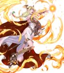 1girl arm_guards armor aureolin31 blonde_hair braid cape chain dress fire fire_emblem fire_emblem:_three_houses fire_emblem_heroes flower gradient gradient_hair green_eyes green_hair hair_flower hair_ornament high_heels highres lips long_dress long_hair looking_away low-tied_long_hair magic multicolored_hair official_art open_mouth open_toe_shoes seiros_(fire_emblem) single_braid sleeveless sleeveless_dress solo sword thigh_strap tied_hair toes transparent_background two-tone_hair weapon white_background white_dress