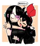 2girls :3 :d bare_shoulders black_dress black_gloves blush_stickers border bow bow_hairband breasts character_name closed_eyes dress elbow_gloves fang gloves hair_bow hairband highres hug large_breasts multicolored_hair multiple_girls noss_(rariatto) one_eye_closed open_mouth orange_background original outline rariatto_(ganguri) red_bow red_hairband sanpaku smile streaked_hair wavy_mouth white_border white_outline wristband zakuro_(rariatto)
