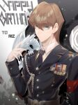 1boy alternate_costume bangs belt black_neckwear blue-eyes_white_dragon brown_hair cbow closed_mouth collared_shirt commentary_request dragon_on_shoulder duel_monster english_text grey_eyes hair_between_eyes hand_up happy_birthday highres kaiba_seto long_sleeves looking_at_viewer male_focus medal military military_uniform necktie shiny shiny_hair shirt uniform white_shirt yu-gi-oh! yu-gi-oh!_duel_monsters