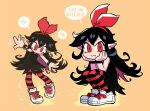 1girl :3 black_dress black_hair blush bow bow_hairband closed_mouth colored_inner_hair curly_hair dress english_text fang fang_out hair_bow hairband halftone hands_on_own_cheeks hands_on_own_face highres long_hair looking_at_viewer multicolored_hair multiple_views original outstretched_arms pantyhose pointy_ears rariatto_(ganguri) red_bow red_hairband red_legwear shoes short_dress simple_background smile spread_arms squatting striped striped_legwear white_footwear wristband yellow_background zakuro_(rariatto)