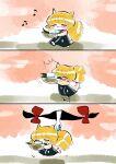^^^ animal_ears basket blonde_hair bow carrying closed_eyes closed_mouth dress food fox_ears fox_tail gap_(touhou) gloves highres holding holding_basket kitsune komaku_juushoku leaf motion_lines musical_note out_of_frame red_bow simple_background surprised tail tofu touhou tripping walking white_gloves yakumo_ran yakumo_yukari younger
