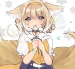 1girl alternate_costume animal_ear_fluff animal_ears arknights bangs black_choker blonde_hair blush bubble bubble_blowing bubble_pipe choker commentary_request fox_ears fox_girl fox_tail green_eyes hair_rings highres holding multiple_tails solo suzuran_(arknights) tail tomatoritori upper_body white_background