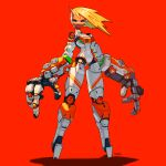 1girl absurdres blonde_hair blue_sclera colored_sclera colored_skin cyberpunk cyborg fewer_digits full_body green_eyes half-closed_eyes highres horns joints koutetu_yarou looking_at_viewer original oversized_forearms oversized_limbs red_background red_skin robot_joints shadow signature single_horn smile smug solo standing
