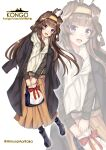 1girl absurdres ahoge bag beige_skirt black_coat black_sweater breasts brown_eyes brown_hair character_name coat coat_on_shoulders double_bun fire_maxs full_body hairband handbag highres kantai_collection kongou_(kantai_collection) long_hair long_skirt long_sleeves looking_at_viewer official_alternate_costume orange_skirt scarf skirt solo sweater white_scarf zoom_layer