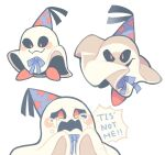 blue_bow blush_stickers bow crying doopliss english_text ghost hat highres looking_at_viewer super_mario_bros. no_humans open_mouth paper_mario paper_mario:_the_thousand_year_door party_hat red_eyes white_background yatsunote