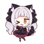 >_o 1girl animal_ears bangs bare_shoulders black_bow black_dress bow brown_eyes cat_ears cat_tail chibi commentary_request detached_sleeves dress frilled_dress frills full_body hololive murasaki_shion muuran one_eye_closed open_mouth silver_hair simple_background solo tail tail_ornament virtual_youtuber white_background