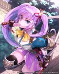1girl :o bell blue_eyes boots breasts copyright_name ear_piercing greaves hair_bell hair_ornament highres holding holding_sword holding_weapon katana knee_boots looking_at_viewer looking_up mansu medium_breasts moriah_saga open_mouth piercing purple_hair purple_skirt shiny skirt solo sword thigh-highs tree twintails weapon yellow_neckwear
