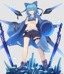 1girl alternate_costume ankle_boots belt black_shorts blue_bow blue_coat blue_eyes blue_footwear blue_hair blue_sports_bra boots bow cirno coat commentary_request crossed_arms detached_wings eyebrows_visible_through_hair flat_chest full_body gem gunbuster_pose hair_bow highres ice_crystal jacket jacket_on_shoulders kogane_ringo long_coat loose_belt mechanical_wings midriff multiple_belts multiple_swords navel planted_sword planted_weapon short_hair shorts solo sports_bra sword touhou weapon wings