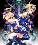 1boy 1girl bare_shoulders black_background black_gloves blonde_hair blue_shirt blue_skirt boots burning_stone_(module) chain_necklace checkered checkered_skirt crop_top fingerless_gloves from_side gloves goggles goggles_on_head grin hair_ornament hair_scrunchie hand_on_hip headband highres jewelry kagamine_len kagamine_rin knee_boots lightning_stone_(module) looking_at_viewer necklace outstretched_arm pants parted_lips project_diva_(series) rettou_joutou_(vocaloid) scrunchie shirt short_hair sideways_glance skirt skull_print smile tank_top track_pants tyouya vocaloid wrist_scrunchie
