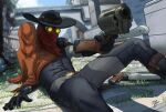 boots cowboy cowboy_boots cowboy_hat gloves glowing glowing_eyes goggles gun hat highres jhin league_of_legends on_ground pointing_at_another poncho red_bandana revolver reynaldo_siqueira vest weapon western yellow_eyes