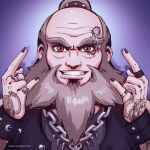 1boy \m/ alternate_universe arm_tattoo avatar:_the_last_airbender avatar_(series) bald_spot biker_clothes black_nails brown_hair caro_oliveira chain_necklace dragon_tattoo english_commentary eyebrow_piercing facial_tattoo fingernails grey_hair grin iroh jewelry lip_piercing looking_at_viewer male_focus multiple_piercings nail_polish old old_man piercing reward_available ring smile solo tattoo thick_eyebrows topknot wrinkles