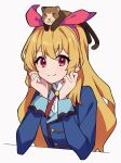 1girl aikatsu! aikatsu!_(series) animal_on_head arm_rest blonde_hair blue_jacket bow clenched_hands collared_shirt diamond-shaped_pupils diamond_(shape) elbow_rest eyebrows_visible_through_hair ferret ferry_(aikatsu!) hair_bow hairband hand_on_own_cheek hand_on_own_face highres hoshimiya_ichigo jacket long_hair looking_at_viewer neck_ribbon on_head red_bow red_eyes red_neckwear ribbon school_uniform shirt simple_background smile starlight_academy_uniform symbol-shaped_pupils uhouhogorigori upper_body white_background white_shirt