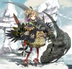 1girl animal_skull blonde_eyelashes blonde_hair bone cliff crown_hair_ornament fangs feathers gold gold_armor highres japanese_clothes kimono okama original red_legwear rock rope sandals scale_armor shimenawa thigh-highs twintails weapon