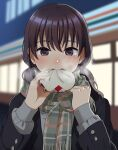 1girl backlighting bangs baozi black_jacket blush brown_eyes brown_hair commentary_request eating food fringe_trim green_scarf holding holding_food jacket long_hair long_sleeves looking_at_viewer low_twintails mattaku_mousuke nose_blush open_mouth original outdoors plaid plaid_scarf scarf solo steam twintails twitter_username upper_body upper_teeth