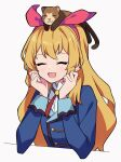 1girl :d ^_^ ^o^ aikatsu! aikatsu!_(series) animal_on_head arm_rest blonde_hair blue_jacket bow clenched_hands closed_eyes collared_shirt elbow_rest eyebrows_visible_through_hair ferret ferry_(aikatsu!) hair_bow hairband hand_on_own_cheek hand_on_own_face highres hoshimiya_ichigo jacket long_hair neck_ribbon on_head open_mouth red_bow red_eyes red_neckwear ribbon school_uniform shirt simple_background smile starlight_academy_uniform uhouhogorigori upper_body white_background white_shirt