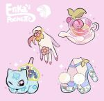 artist_name bubble_tea bulbasaur character_name cherubi commentary cup disembodied_limb drinking_straw english_commentary gen_1_pokemon gen_2_pokemon gen_4_pokemon high_heels jewelry jumpluff nail_polish pink_background pokemon ring saucer simple_background sparkle spoon teacup vileplume watermark yamato-leaphere