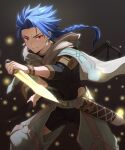 1boy bangs blue_hair braid cape closed_mouth clothing_request commentary_request cowboy_shot cu_chulainn_(fate)_(all) dual_wielding earrings fate/grand_order fate_(series) highres holding holding_weapon hood hood_down hooded_cape jewelry light_particles long_hair looking_at_viewer male_focus mondi_hl o-ring ponytail red_eyes sheath skin_tight solo weapon