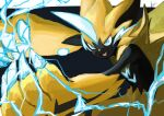 1boy :3 animal_ears animal_nose arms_up artist_name black_fur blue_background blue_eyes body_fur cat_boy cat_ears claws commentary_request electricity fangs furry gen_7_pokemon happy highres ikei jpeg_artifacts legendary_pokemon male_focus mythical_pokemon open_mouth outstretched_arms pawpads paws pokemon pokemon_(creature) signature simple_background smile solo standing two-tone_fur whiskers yellow_fur zeraora