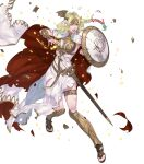 1girl arm_guards armor aureolin31 blonde_hair braid broken_shield cape chain clenched_teeth dress fire_emblem fire_emblem:_three_houses fire_emblem_heroes flower gradient gradient_hair green_eyes green_hair hair_flower hair_ornament high_heels highres lips long_dress long_hair looking_away low-tied_long_hair multicolored_hair official_art open_toe_shoes parted_lips seiros_(fire_emblem) sheath sheathed single_braid sleeveless sleeveless_dress solo sword teeth thigh_strap tied_hair toes torn_clothes transparent_background two-tone_hair weapon white_background white_dress