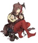1girl animal_ears arknights axe bear_ears black_footwear black_sailor_collar blush boots boots_removed brown_coat chain closed_mouth coat crossed_legs grey_shirt grey_skirt high_heel_boots high_heels highres holding holding_axe holding_weapon hood hood_down looking_at_viewer medium_hair miniskirt multicolored_hair neckerchief no_shoes off_shoulder open_clothes open_coat pantyhose red_legwear red_neckwear ruukii_drift sailor_collar school_uniform serafuku shirt simple_background sitting skirt solo streaked_hair violet_eyes weapon white_background zima_(arknights)
