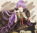 1girl absurdly_long_hair absurdres belt black_feathers book braid commission commissioner_upload covered_mouth cup dress drinking feathers fire_emblem fire_emblem:_the_binding_blade fire_emblem_heroes french_braid highres hisona_(suaritesumi) huge_filesize long_hair long_sleeves open_book purple_hair skin_tight solo sophia_(fire_emblem) sugar_cube tea teacup very_long_hair violet_eyes