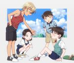 2boys 2girls amuro_tooru bandaid bandaid_on_nose bangs black-framed_eyewear black_footwear black_shorts blonde_hair blue_eyes blue_footwear blue_overalls blue_shirt blue_shorts blue_sky blue_vest blush bow bowtie brown_hair brown_shorts child clouds collared_shirt commentary_request crossed_arms day edogawa_conan eye_contact full_body glasses hair_between_eyes hand_in_pocket k_(gear_labo) leaning_forward long_hair looking_at_another meitantei_conan miyano_akemi multiple_boys multiple_girls outstretched_arm overalls red_bow red_footwear red_neckwear red_shirt scotch_(meitantei_conan) shirt shoes shorts sitting skateboard sky sleeveless sleeveless_shirt sneakers socks squatting standing sweatdrop time_paradox vest watch watch white_legwear white_shirt yellow_footwear younger