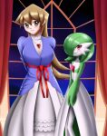 2girls amulet arms_behind_back blonde_hair blue_dress blue_sweater blush crossover curtains deviantart gardevoir gen_3_pokemon green_dress green_hair happy looking_at_viewer moon necklace night palace pokemon red_bow red_curtains red_eyes sincity2100 sleeves spikes stars tenjouin_asuka white_dress white_skin white_skirt window yellow_eyes yu-gi-oh! yuu-gi-ou yuu-gi-ou_gx