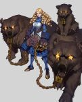 1girl bare_shoulders bear blonde_hair chain detached_sleeves drill glowing glowing_eyes goldilocks goldilocks_and_the_three_bears grey_background highres ian_su long_hair oversized_gloves parted_lips scar scar_across_eye simple_background smile standing