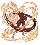 1girl alien angry apoloniodraws armor ben_10 fiery_hair fire heatblast helmet highres omnitrix scarf yellow_eyes