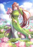 1girl adjusting_hair artist_name axis_powers_hetalia blue_sky breasts brown_hair clouds commentary commission cosplay day doki_doki_literature_club dress english_commentary eyebrows_visible_through_hair flower flower_request full_body green_dress green_eyes hair_ribbon hand_up highres large_breasts long_dress long_hair long_sleeves looking_at_viewer monika_(doki_doki_literature_club) outdoors pants pants_under_dress ponytail potetos7 ribbon sky smile solo very_long_hair vietnam_(hetalia) vietnam_(hetalia)_(cosplay) vietnamese_dress wading water white_pants white_ribbon