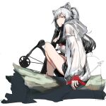 1girl animal_ears arknights arrow_(projectile) bangs bare_legs black_footwear black_hair black_shorts bow_(weapon) breasts cat_ears closed_mouth commentary crop_top crossbow eyebrows_visible_through_hair full_body holding holding_arrow holding_bow_(weapon) holding_weapon hood hooded_jacket jacket log long_hair looking_at_viewer medium_breasts multicolored_hair open_clothes open_jacket orange_eyes parted_bangs partially_colored ponytail schwarz_(arknights) see-through short_shorts shorts silver_hair simple_background sitting sitting_on_log solo tdc24 thighs two-tone_hair weapon white_background white_jacket