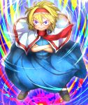1girl absurdres alice_margatroid bangs blonde_hair blue_dress blush boots brown_footwear capelet closed_mouth colorful commentary_request cookie_(touhou) cross-laced_footwear crossed_arms dress eyes_visible_through_hair frilled_hairband frills full_body gaba_physics hair_between_eyes hairband highres ichigo_(cookie) long_dress looking_at_viewer multicolored multicolored_background niwarizumu pout red_hairband red_neckwear short_hair solo touhou v-shaped_eyebrows white_capelet