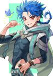 1boy belt blue_hair bracelet braid braided_ponytail capelet child cu_chulainn_(fate)_(all) earrings fate/grand_order fate/grand_order_arcade fate_(series) floating_hair from_side g0ringo highleg highres jewelry long_hair long_sleeves looking_at_viewer male_focus red_eyes setanta_(fate) skin_tight smile thumbs_up type-moon