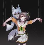 2girls absurdres ahoge animal_ear_fluff animal_ears aoman_de_cangshu arms_up bangs behind_back black_background black_legwear blood blood_on_face bloody_hands bra_strap collarbone dark_background fox_ears fox_tail green_eyes groin hand_up highres hololive long_hair long_sleeves looking_at_viewer marionette medium_hair multiple_girls nail natsuiro_matsuri open_mouth pantyhose puppet shadow shirakami_fubuki string tail torn_clothes torn_legwear virtual_youtuber white_hair wide_sleeves