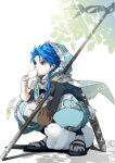 1boy 1other animal baozi blue_hair braid braided_ponytail capelet cu_chulainn_(fate)_(all) dagger dated dog eating fate/grand_order fate/grand_order_arcade fate_(series) food full_body highres holding hood hood_up hooded_capelet leaf long_hair male_focus pants puffy_pants puppy red_eyes sandals scabbard setanta_(fate) sheath signature slit_pupils spiky_hair squatting staff toumei328 type-moon weapon
