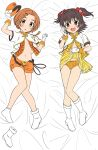2girls :d akagi_miria arm_up bangs bed_sheet black_hair blush boot_removed boots bow bow_panties brown_eyes brown_hair commentary_request dakimakura_(medium) flo gloves hair_bow hair_ornament hat hat_removed headwear_removed heart heart_hair_ornament highres idolmaster idolmaster_cinderella_girls jacket lifted_by_self looking_at_viewer lying multiple_girls navel on_back open_clothes open_fly open_mouth open_shorts orange_headwear orange_panties orange_shorts panties parted_bangs pleated_skirt red_bow ryuuzaki_kaoru shako_cap short_shorts short_sleeves shorts single_boot skirt skirt_lift smile socks two_side_up underwear white_footwear white_gloves white_jacket white_legwear yellow_skirt