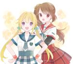 2girls :d blonde_hair breasts brown_eyes brown_hair buttons chuuou_academy_uniform dot_nose eyebrows_visible_through_hair eyelashes fingernails floral_background flower green_neckwear green_ribbon green_sailor_collar hair_between_eyes hair_bobbles hair_ornament hands_on_another's_shoulders hands_on_hips happy height_difference highres light_blush long_sleeves magia_record:_mahou_shoujo_madoka_magica_gaiden mahou_shoujo_madoka_magica mitsuki_felicia miyama_rikka multiple_girls necktie open_mouth orange_flower plaid plaid_skirt pleated_skirt red_sailor_collar red_skirt ribbon round_teeth sailor_collar school_uniform shiny shiny_hair short_over_long_sleeves short_sleeves side_ponytail simple_background skirt small_breasts smile tareme teeth twintails uniform upper_teeth violet_eyes white_background wristband yui_tsuruno