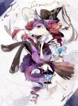 1girl :< alternate_color animal_ear_fluff animal_ears arm_up black_choker black_fur black_headwear black_legwear black_shirt blank_eyes blue_fire body_fur braixen broom broom_riding chain character_name choker claws closed_mouth clothed_pokemon coco7 crossed_legs fire flat_chest fork fox_ears fox_girl fox_tail full_body furry gen_5_pokemon gen_6_pokemon hat lantern litwick looking_at_viewer mole mole_under_eye pantyhose paws pokemon pokemon_(creature) purple_fur red_eyes romaji_text shiny_pokemon shirt sideways_mouth sitting sleeveless sleeveless_shirt solo_focus spoon star_(symbol) symbol_commentary tail toeless_legwear white_background white_fur witch witch_hat yellow_eyes