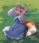 1girl :3 absurdres animal_ears animal_nose arms_up artist_name blue_dress blue_neckwear body_fur boots breasts brooch brown_footwear commentary_request cravat dappled_sunlight day dress flower flower_wreath fox_ears fox_girl fox_tail frilled_dress frills full_body furry grass green_background happy highres jewelry kneeling long_sleeves looking_up medium_breasts on_ground open_mouth orange_fur original outdoors short_over_long_sleeves short_sleeves signature sitting smile snout solo sunlight tail tanishi_(tanisi_tanbo) two-tone_fur violet_eyes wariza white_flower white_fur