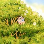 1boy 1girl bangs black_hair blush branch bubble bubble_blowing highres leaf open_mouth original outdoors shirt short_hair short_sleeves sitting tree white_shirt wide_shot yoovora