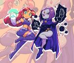 2girls boots bracer brooch cape colored_skin fingerless_gloves flying frown gloves green_eyes grey_skin highres jewelry leotard miniskirt multiple_girls purple_hair rariatto_(ganguri) raven_(dc) redhead skirt smile starfire tan teen_titans thigh-highs thigh_boots thighs violet_eyes