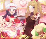 2girls :d alcremie alcremie_(strawberry_sweet) apron bag blush bow brown_dress clock closed_mouth commentary_request cupboard dawn_(pokemon) dress eyebrows_visible_through_hair eyelashes eyewear_removed fingernails framed gen_5_pokemon gen_8_pokemon grey_eyes hair_bow hair_ornament hairclip hands_up hat holding holding_strap indoors kitchen light_brown_hair long_hair long_sleeves multiple_girls nail_polish open_mouth pink_bow pink_nails pokemon pokemon_(creature) pokemon_(game) pokemon_masters_ex pouch red_dress red_mittens remotarou serena_(pokemon) shelf short_sleeves shoulder_bag sidelocks smile steam sunglasses tongue whimsicott white-framed_eyewear