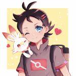 1boy antenna_hair backpack bag blue_eyes blush brown_bag brown_hair closed_mouth commentary_request eyelashes gen_8_pokemon goh_(pokemon) head_tilt heart highres male_focus on_shoulder one_eye_closed pokemon pokemon_(anime) pokemon_(creature) pokemon_on_shoulder pokemon_swsh_(anime) scorbunny seri_813 short_hair short_sleeves smile starter_pokemon