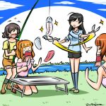 +++ 4girls :d ahoge akiyama_yukari bangs black_hair black_shorts blue_legwear blue_shirt blue_sky blunt_bangs brown_hair camisole casual closed_eyes clouds cloudy_sky commentary day fish fishing_rod folding_table girls_und_panzer green_legwear hair_up holding holding_fishing_rod holding_knife holding_scissors isuzu_hana jaw_drop kneeling knife kogane_(staygold) long_hair looking_at_another lowres messy_hair motion_lines multiple_girls nishizumi_miho off-shoulder_shirt off_shoulder open_mouth orange_hair orange_shorts outdoors pink_shirt ponytail scissors shadow shirt short_hair short_sleeves shorts sky smile socks sparkle standing stream suspender_shorts suspenders sweatdrop t-shirt takebe_saori twitter_username yellow_shirt