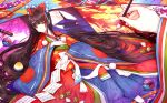 1girl ball black_hair bow calligraphy_brush fate/grand_order fate_(series) hair_bow highres japanese_clothes karaginu_mo kimono layered_clothing layered_kimono long_hair lying on_back paintbrush paper purionpurion scroll sei_shounagon_(fate) shell signature smile very_long_hair wide_sleeves yellow_eyes