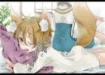 1boy 1girl animal_ear_fluff animal_ears archbishop_(ragnarok_online) back bangs blonde_hair blue_coat blush coat commentary_request eyebrows_visible_through_hair fox_ears fox_girl fox_tail hair_between_eyes indoors letterboxed looking_at_viewer lying on_stomach one_eye_closed open_mouth pillow pillow_hug plant ragfes ragnarok_online shirt short_hair tail the_pose translation_request two-tone_coat white_coat white_shirt window yutsuki